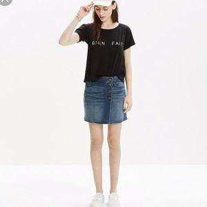 Madewell side button mini skirt